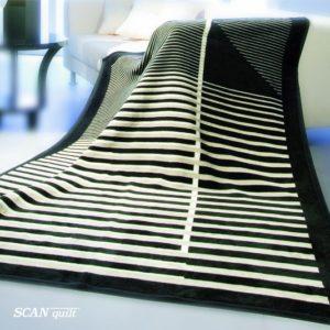 SCANquilt - pléd VELUR proužky černá 150 x 200 cm - Atraktivní plédy a přehozy