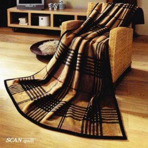 SCANquilt - pléd VELUR edinburgh hnědá 150 x 200 cm - Atraktivní plédy a přehozy