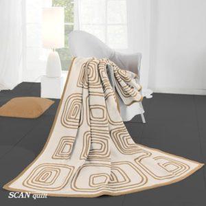 SCANquilt - pléd VELUR retro krémová 150 x 200 cm - Atraktivní plédy a přehozy