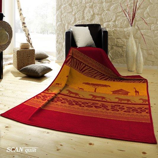 SCANquilt - pléd VELUR afrika oranžová 150 x 200 cm - Atraktivní plédy a přehozy