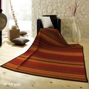 SCANquilt - pléd VELUR proužky červená 150 x 200 cm - Atraktivní plédy a přehozy