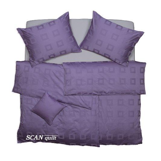 SCANquilt - povlečení EXCLUSIVE kostky fialová 140 x 200/70 x 90 cm - Povlečení SCANquilt