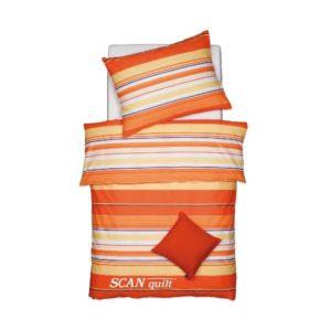 SCANquilt - povlečení FINE LINE pruhy gant oranžová 140 x 200/70 x 90 cm - Povlečení SCANquilt