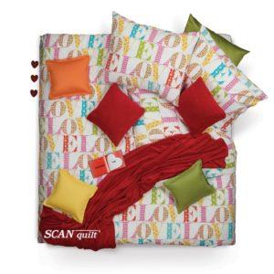 SCANquilt - povlečení FINO DESIGN love bílopestrá 240 x 200/2 x 70 x 90 cm - Povlečení SCANquilt