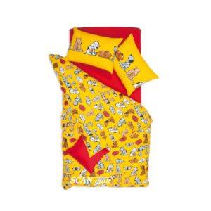 SCANquilt - povlečení FINO DESIGN dogs žlutá 140 x 200/2 x 45 x 65 cm - Povlečení SCANquilt