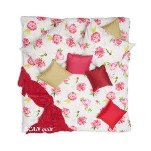 SCANquilt - povlečení FINO DESIGN flowers bíločervená 140 x 220/70 x 90 cm - Povlečení SCANquilt