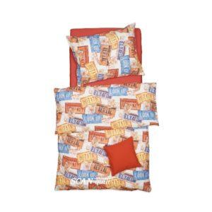 SCANquilt - povlečení FINO DESIGN america oranžovomodrá 140 x 200/70 x 90 cm - Povlečení SCANquilt