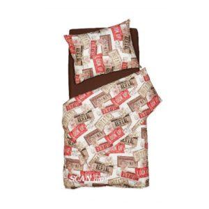 SCANquilt - povlečení FINO DESIGN america hnědočervená 140 x 200/70 x 90 cm - Povlečení SCANquilt