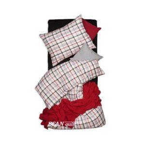 SCANquilt - povlečení FLANEL kostka bíločernočervená 140 x 200/70 x 90 cm - Atraktivní plédy a přehozy