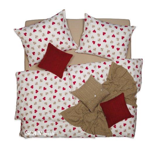SCANquilt - povlečení FLANEL love you bílobéžovočervená 140 x 220/70 x 90 cm - Povlečení SCANquilt