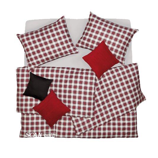 SCANquilt - povlečení FLANEL kostka černočervená 140 x 220/70 x 90 cm - Atraktivní plédy a přehozy