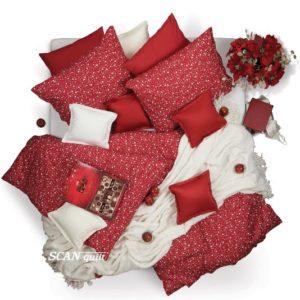 SCANquilt - povlečení KLASIK puntíky červená 140 x 200/70 x 90 cm - Atraktivní plédy a přehozy