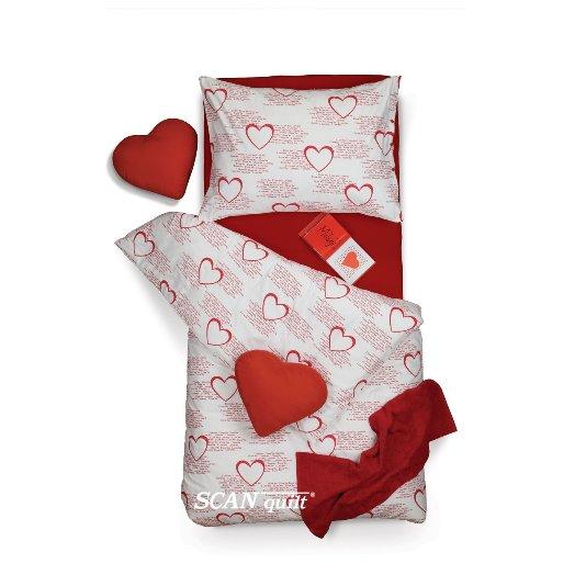 SCANquilt - povlečení KLASIK i love you bíločervená 140 x 220/70 x 90 cm - Povlečení SCANquilt