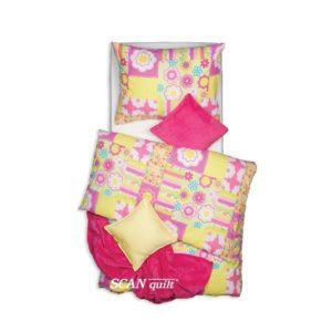 SCANquilt - povlečení KLASIK happy patch růžovožlutá 140 x 200/70 x 90 cm - Povlečení SCANquilt