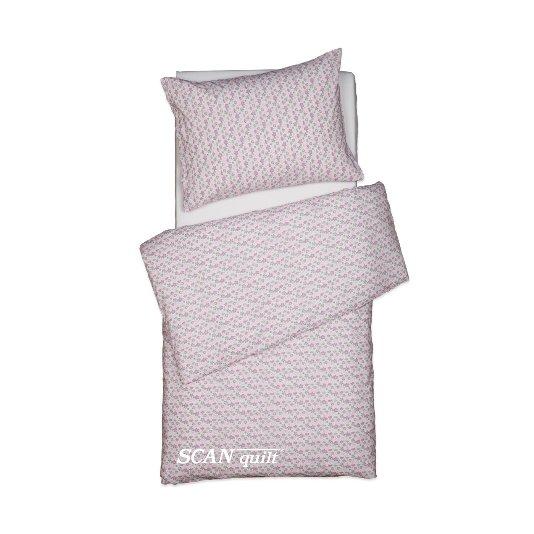 SCANquilt - povlečení KLASIK kytičky růžovozelená 140 x 200/70 x 90 cm - Povlečení SCANquilt