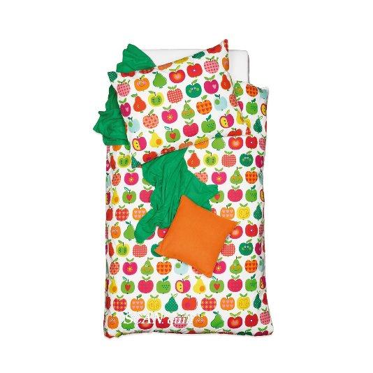SCANquilt - povlečení KLASIK jablka zelenorůžová 140 x 200/70 x 90 cm - Povlečení SCANquilt