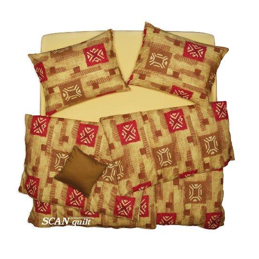 SCANquilt - povlečení KLASIK žlutočervená 140 x 220/70 x 90 cm - Povlečení SCANquilt