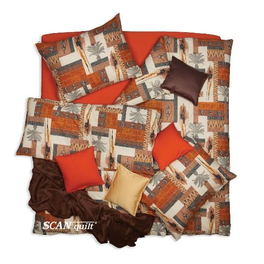 SCANquilt - povlečení KLASIK DESIGN africa hnědooranžová 140 x 200/70 x 90 cm - Povlečení SCANquilt