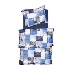 SCANquilt - povlečení KLASIK DESIGN jeans modrá 140 x 220/70 x 90 cm - Povlečení SCANquilt