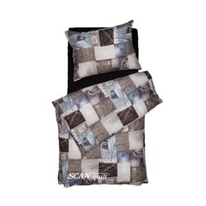 SCANquilt - povlečení KLASIK DESIGN jeans hnědá 140 x 200/70 x 90 cm - Povlečení SCANquilt