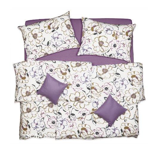 SCANquilt - povlečení KREP květy bílofialovohnědá 140 x 200/70 x 90 cm - Povlečení SCANquilt