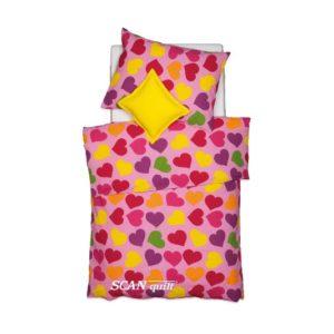 SCANquilt - povlečení KREP srdce růžovopestrá 140 x 200/70 x 90 cm - Povlečení SCANquilt