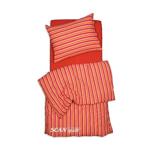 SCANquilt - povlečení KREP proužek červenooranžová 140 x 200/70 x 90 cm - Povlečení SCANquilt