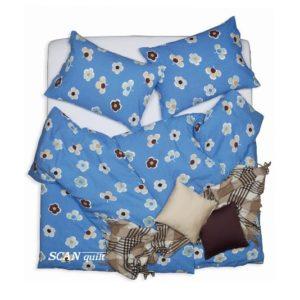 SCANquilt - povlečení KREP květy modrá 140 x 200/70 x 90 cm - Povlečení SCANquilt