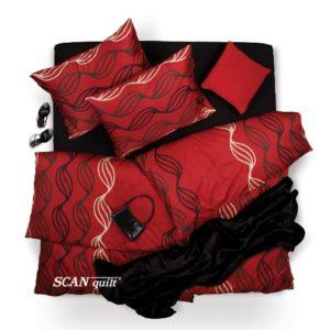 SCANquilt - povlečení SATÉN spirály červenočerná 140 x 200/70 x 90 cm - Povlečení SCANquilt