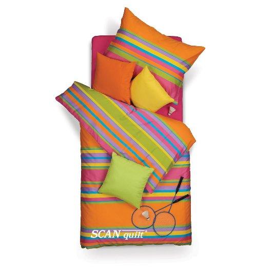 SCANquilt - povlečení SATÉN pruhy oranžová 140 x 200/70 x 90 cm - Povlečení SCANquilt