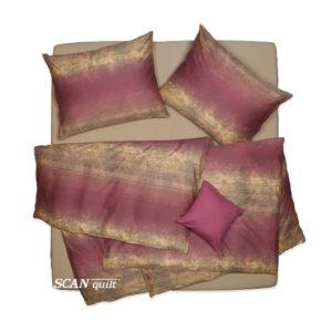 SCANquilt - povlečení SATÉN batika vínovobéžová 240 x 200/2 x 70 x 90 cm - Povlečení SCANquilt