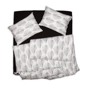 SCANquilt - povlečení SATÉN list bíločerná 240 x 200/2 x 70 x 90 cm - Povlečení SCANquilt