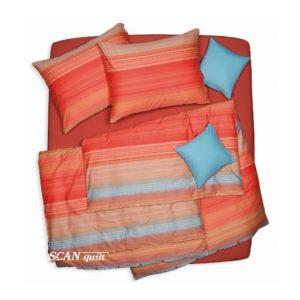 SCANquilt - povlečení SATÉN proužky oranžová 240 x 200/2 x 70 x 90 cm - Povlečení SCANquilt