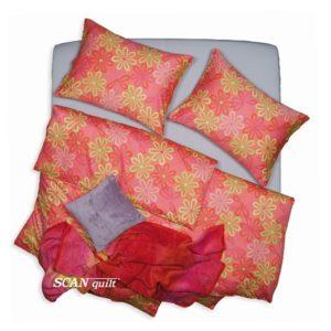 SCANquilt - povlečení SATÉN květy oranžovozelinkavá 140 x 220/70 x 90 cm - Povlečení SCANquilt