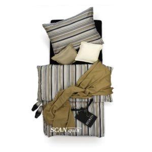 SCANquilt - povlečení SATÉN proužek černobéžová 140 x 200/70 x 90 cm - Povlečení SCANquilt