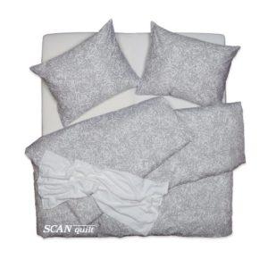 SCANquilt - povlečení SATÉN PLUS hypno šedobílá 140 x 200/70 x 90 cm - Povlečení SCANquilt