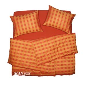 SCANquilt - povlečení TOP LINE kostky oranžová 140 x 220/70 x 90 cm - Povlečení SCANquilt