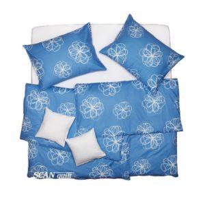 SCANquilt - povlečení FINO velký květ sv. modrá 140 x 200/70 x 90 cm - Povlečení SCANquilt