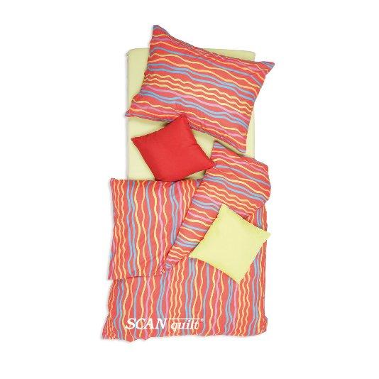 SCANquilt - povlečení KLASIK vlnky červená 140 x 200/70 x 90 cm - Povlečení SCANquilt