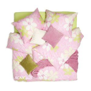 SCANquilt - povlečení SATÉN PLUS květina růžová 140 x 200/70 x 90 cm - Povlečení SCANquilt