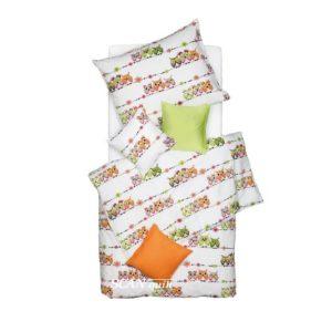 SCANquilt - dětské povlečení KREP sovičky bílopestrá 140 x 200/70 x 90 cm - Povlečení SCANquilt