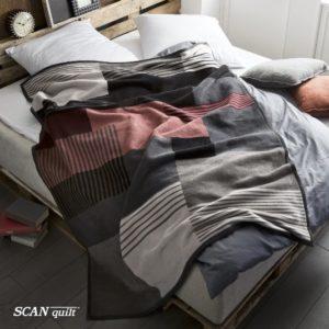 SCANquilt - pléd VELUR moderní kostka šedočernocihlová 150 x 200 cm - Atraktivní plédy a přehozy