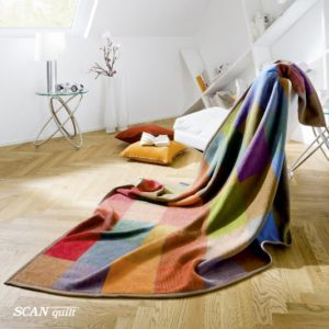 SCANquilt - pléd VELUR kostka multi 150 x 200 cm - Atraktivní plédy a přehozy