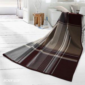 SCANquilt - pléd VELUR dylan kostka šedočerná 150 x 200 cm - Atraktivní plédy a přehozy