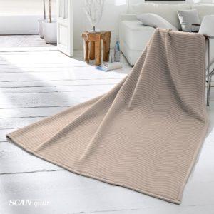 SCANquilt - pléd VELUR RELIEF vlny béžová 150 x 200 cm - Atraktivní plédy a přehozy