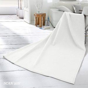 SCANquilt - pléd VELUR RELIEF vlny bílá 220 x 240 cm - Atraktivní plédy a přehozy