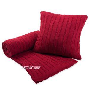 SCANquilt - pletený pléd IMPERIAL copánky červená 130 x 190 cm - Atraktivní plédy a přehozy