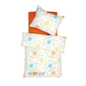 SCANquilt - povlečení FINO DESIGN daisy smetanovooranžová 140 x 200/70 x 90 cm - Povlečení SCANquilt