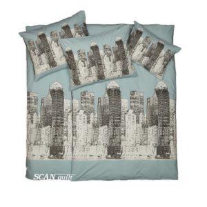 SCANquilt - povlečení FINO DESIGN new york tyrkysovošedá 140 x 200/70 x 90 cm - Povlečení SCANquilt