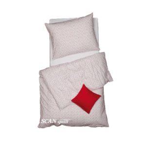 SCANquilt - povlečení KLASIK srdíčka bíločervená 140 x 200/70 x 90 cm - Povlečení SCANquilt